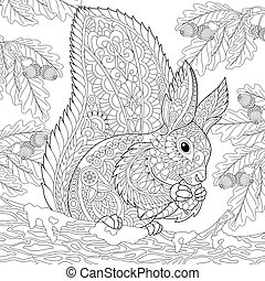 Zentangle stylized squirrel in forest