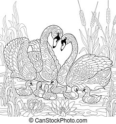 Coloring page of swan birds family, lotus flowers and reed grass. Freehand sketch drawing for adult antistress coloring book in zentangle style.