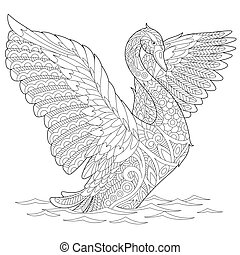 Coloring page of beautiful swan bird. Freehand sketch drawing for adult antistress coloring book in zentangle style.