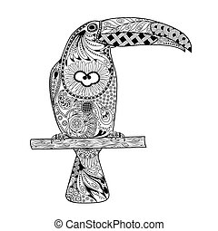Zentangle stylized toucan. Hand Drawn doodle vector illustration isolated on transparent background.