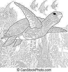 Coloring page of coral reef. Turtle (tortoise) and tropical fish. Freehand sketch drawing for adult antistress coloring book in zentangle style.