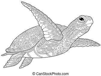 Coloring page of underwater turtle, isolated on white background. Freehand sketch drawing for adult antistress coloring book in zentangle style.