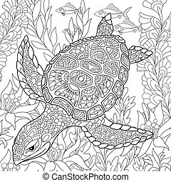Zentangle stylized turtle - Zentangle stylized cartoon...