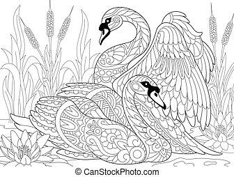 Zentangle stylized two swans