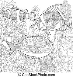 Zentangle stylized underwater scene - Coloring page of coral...