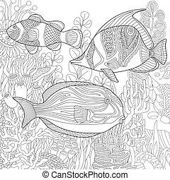 Triggerfish Cartoon Character Vectorsby Ridjam1 8 Zentangle Stylized Underwater Scene