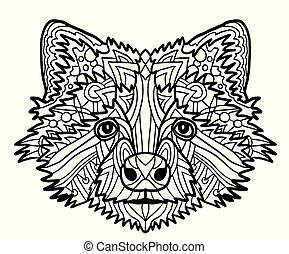 Zentangle stylized vector of badger head. Zen art drawing. Illustration isolated on white. Doodle ornate print fits as tattoo or logo template, Collection of animals.