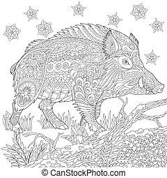 Zentangle stylized wild boar - Coloring page of wild boar (...