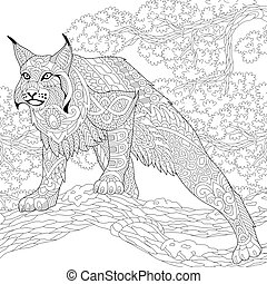Zentangle stylized wildcat