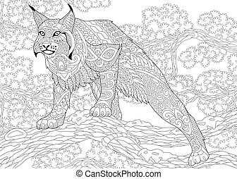 Zentangle stylized wildcat. Coloring page of wildcat, lynx,... eps ...