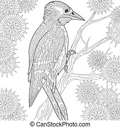 Zentangle stylized woodpecker