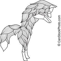 Zentangle vector jumping Fox