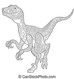 Zentangle velociraptor dinosaur