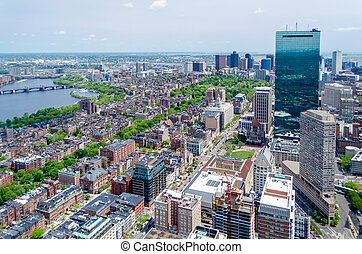 zentral, luftaufnahmen, usa, boston, ansicht