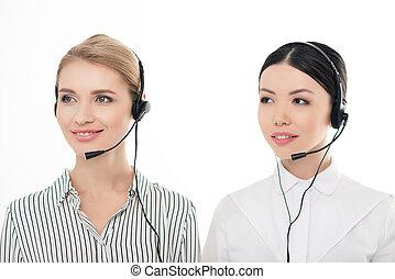 zentrieren, kopfhörer, operatoren, freigestellt, junger, rufen, porträt, weißes