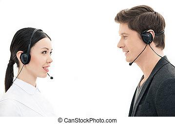 zentrieren, kopfhörer, operatoren, freigestellt, schauen, andere, rufen, jedes, weißes
