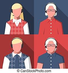 zentrieren, operatoren, avatars, silhouetten, rufen, weibliche , mann