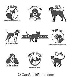 zentrieren, satz, logos, haustier, veterinär, klub, hund, klinik, vektor, embleme, abzeichen