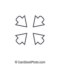 zentrieren, symbol, pfeile, vektor, schlanke, icon., linie, linear
