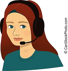zentrieren, unterstuetzung, kopfhörer, -, rufen mädchen