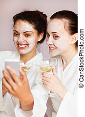 zentrum, kommunikation, entspannen, mädels, party, spa
