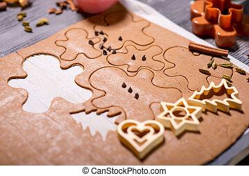 zenzero, biscotti, forme, su, natale
