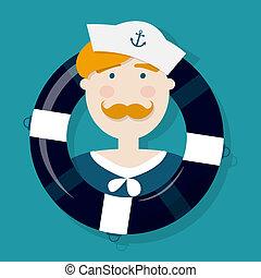 zenzero, marinaio, cartone animato, carattere