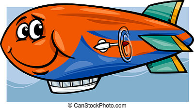 zeppelin airship cartoon illustration - Cartoon Illustration...