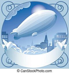 Zeppelin - Raster version of vector image of retro label...