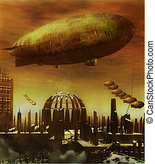 An old-fashioned dirigible flies over a steam punk style ruins of a demolished city.