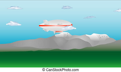 Zeppelin flying. Huge zeppelin airship on sky with clouds....