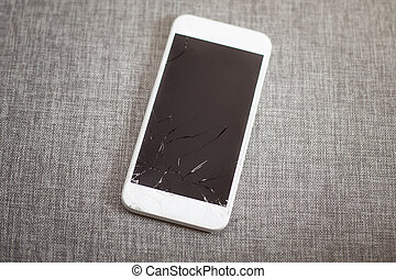 zerbrach, weißes, klug, telefon, mit, touchable, schirm