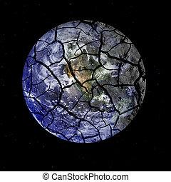 zerbrechlich, planet erde, krachend, auseinander, in, weltraum