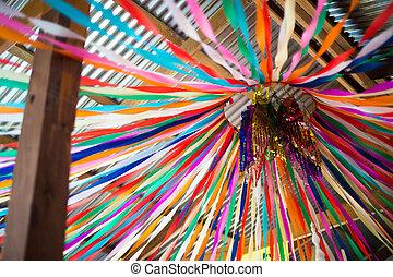 zeremonie, auf, dieser, symbol, gegenstand, mönch, bunte, religion, papier, schließen, linie