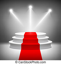zeremonie, erleuchtet, auszeichnung, podium, vektor, buehne