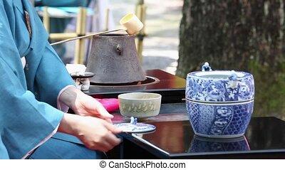 zeremonie, tee, grün, japanisches