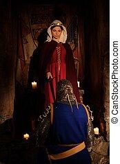 zeremonie, uralt, mittelalterlich, knighting, königin,...