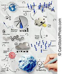 zerknittert, begriff, geschäftsstrategie, papier, hintergrund, zeichnung, hand, kreativ