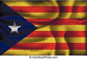 zerknittert, fahne, von, catalonia