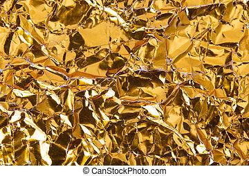 zerknittert, gold, beschaffenheit, folie, papier, hintergrund