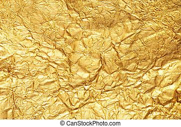 zerknittert, gold, folie, textured, hintergrund