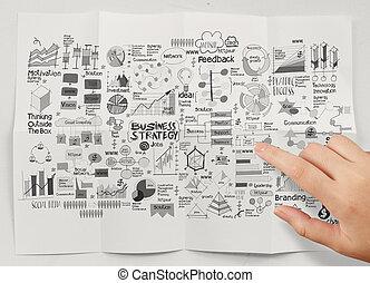 zerknittert, zeigen, geschäftsstrategie, papier, hintergrund, hand
