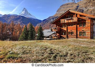 Zermatt, Swiss ski resort village.