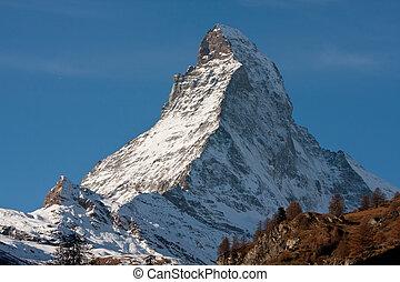 Zermatta Matterhorn Mountain in Switzerland - Zoomed up view...