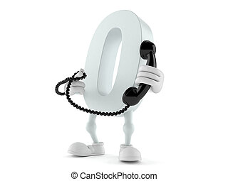 Zero character holding a telephone handset