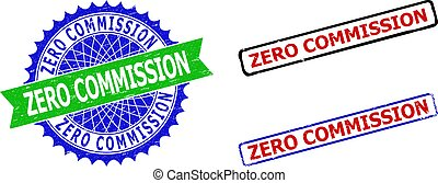 ZERO COMMISSION Rosette and Rectangle Bicolor Stamps with Unclean Surfaces