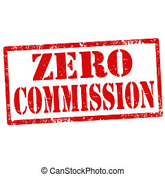 Zero Commission-stamp - Grunge rubber stamp with text Zero...