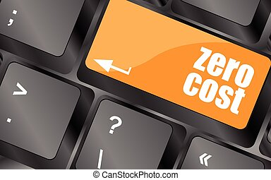 zero cost button on computer keyboard key, vector...