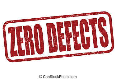 Stamp with text zero defects inside, vector illustration