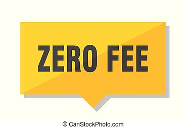 zero fee price tag - zero fee yellow square price tag